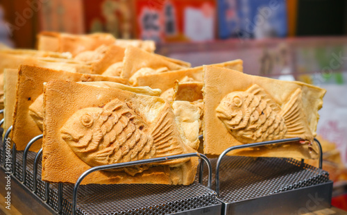 Taiyaki Japanese fish-shaped cake fill with sweet red bean paste Wallpaper Mural