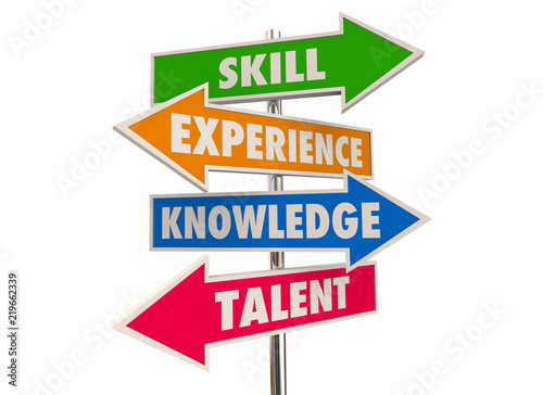 Skill Experience Knowledge Talent Best Candidate Arrow Signs 3d Illustration Canvas Print