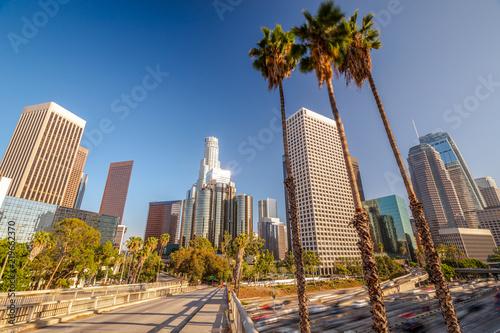 In de dag Los Angeles downtown skyline