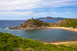 Alghero, Sardinia Italy - Panoramic view of the Cala Porticciolo gulf with Torre del Porticciolo tower in the Porto Conte Regional Park
