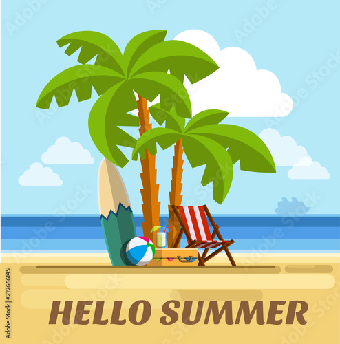 Fotobehang Draw Tropical beach. Summer holidays on tropical beach. Seaside vacation. Vacation on beach in the hot summer days. Vector illustration Eps10 file