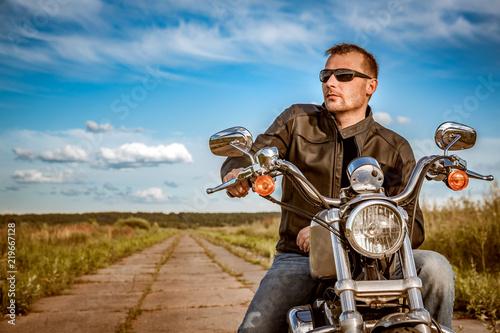 Valokuva Biker on a motorcycle