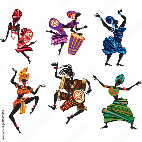 Canvas Print Dancing people in traditional ethnic style