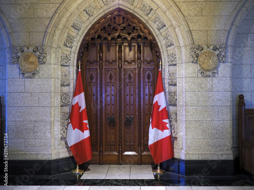 Canadian Parliament Building  entrance to the House of Commons.