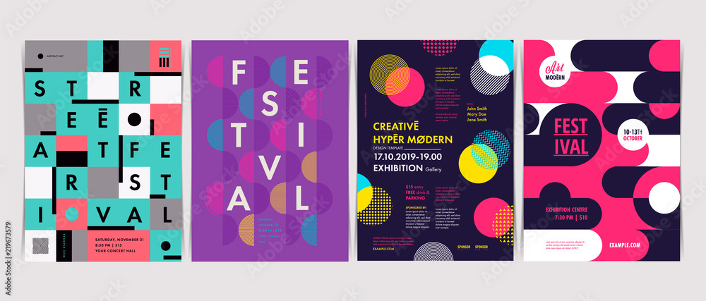 Fototapeta Set of Flyer templates with geometric shapes and patterns, 80s memphis geometric style. Vector illustrations.