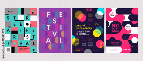Obraz Set of Flyer templates with geometric shapes and patterns, 80s memphis geometric style. Vector illustrations. - fototapety do salonu