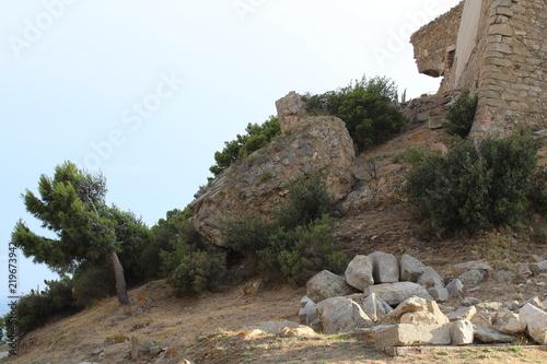 Papiers peints Cappuccino paysage de la citadelle de Roses en Espagne