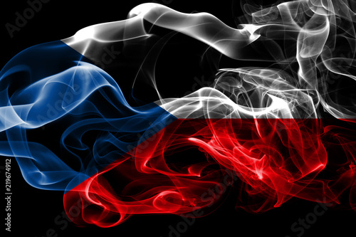 Fotografie, Obraz  National flag of Czech Republic made from colored smoke isolated on black background