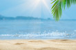 Top of wood table with blurred sea and palm tree background,Concept Summer, Beach, Sea, Relax.