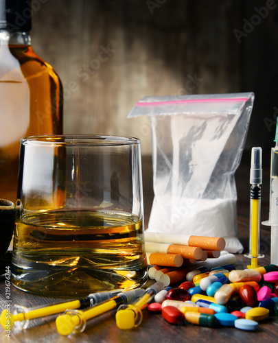 Photo Addictive substances, including alcohol, cigarettes and drugs