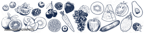 Fruits and vegetables set on white background, Vector Illustration, Sketch outline