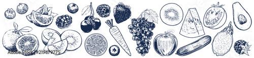 Fotografia Fruits and vegetables set on white background, Vector Illustration, Sketch outli