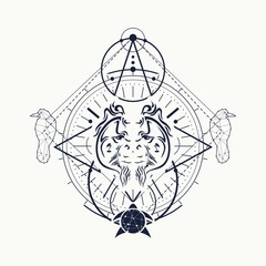 Mystical geometry symbol. Linear alchemy, occult, philosophical sign. Low poly raven, turtle and orangutan head. For music album cover, poster, sacramental design. Astrology and religion concept.