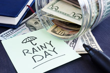 Rainy Day Fund Savings. Jar Wi...