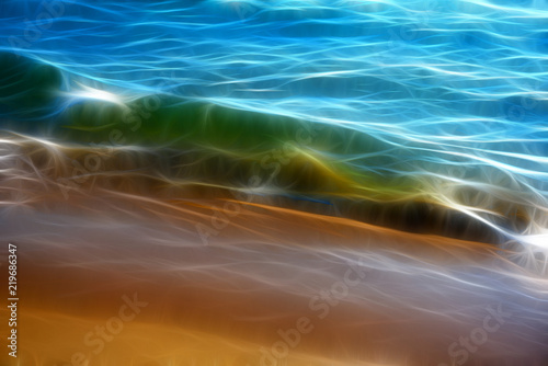 Foto op Aluminium Fractal waves Fractal Background Texture. Transparent Green Wave of Lake Michigan