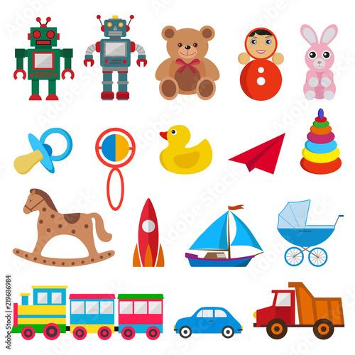 Fotografia set of children`s toys on white background