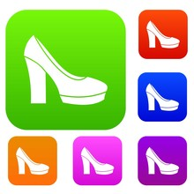 High Heel Shoes Set Icon In Different Colors Isolated Vector Illustration. Premium Collection