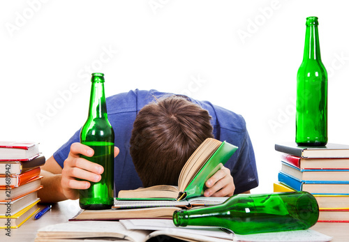 Vászonkép Student in Alcohol Addiction