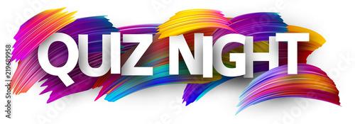 Fototapeta Quiz night poster with colorful brush strokes. obraz