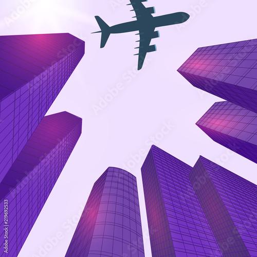 Poster Prune Advertising of travel. Solar violet glare. City landscape. Plane over modern city. illustration