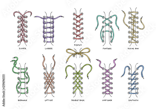 Shoelaces vector shoestring or shoe-laces and fashion accessory for footwear or Tableau sur Toile