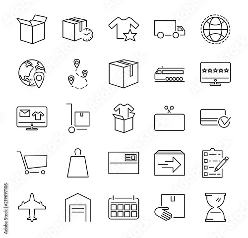 Fotografía  Order fulfillment vector illustration icon collection set