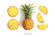 canvas print picture - Fresh whole and cut pineapple