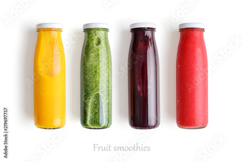 Colorful smoothies in glass