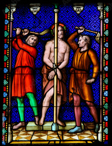 Fotografiet Stained Glass - Flagellation of Jesus Christ on Good Friday