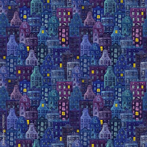 bezszwowy-wzor-akwareli-starzy-europe-domy