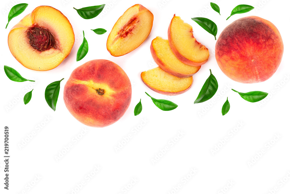 Fototapety, obrazy: ripe peaches with leaves isolated on white background with copy space for your text. Top view. Flat lay pattern