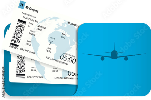 Vector illustration of two airline tickets or boarding pass inside of blue envelope Canvas Print