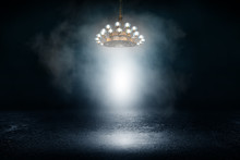 Background Of An Empty Show Scene With A Large Antique Chandelier, Abstract Dark Background