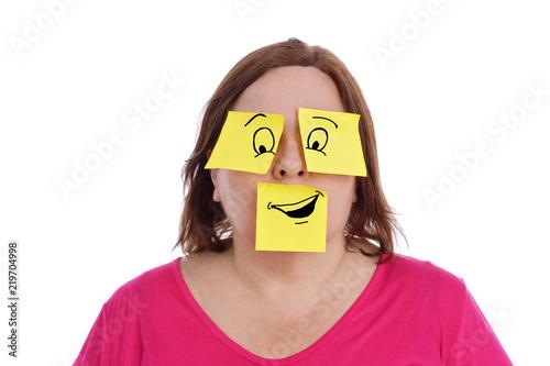 Fotografía  expression femme avec papiers bureaux pense-bêtes dessinés
