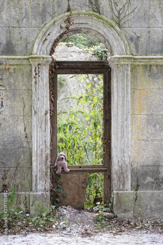 Foto op Aluminium Rudnes peluche perdue dans des ruines
