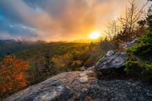 Autumn Scenic Unset Over The Blue Ridge Mountains Of North Carolina