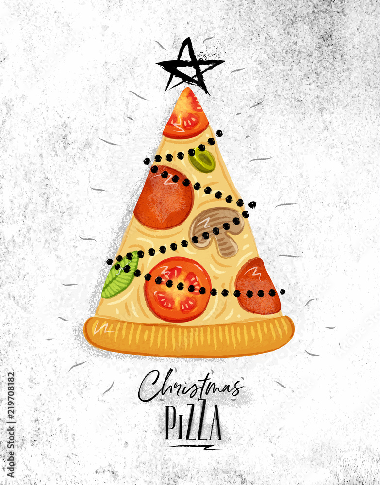 Poster christmas tree pizza