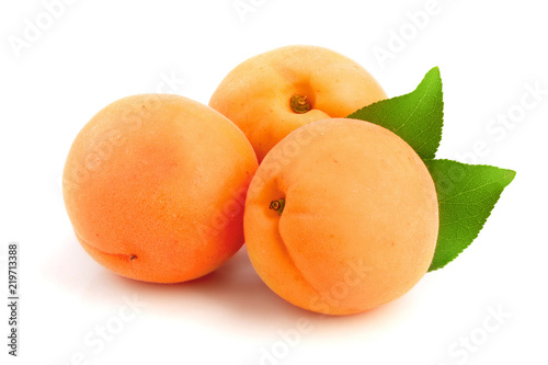 Apricot fruits with leaves isolated on white background macro Canvas Print