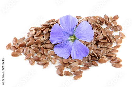 Obraz flax seeds with flower isolated on white background - fototapety do salonu