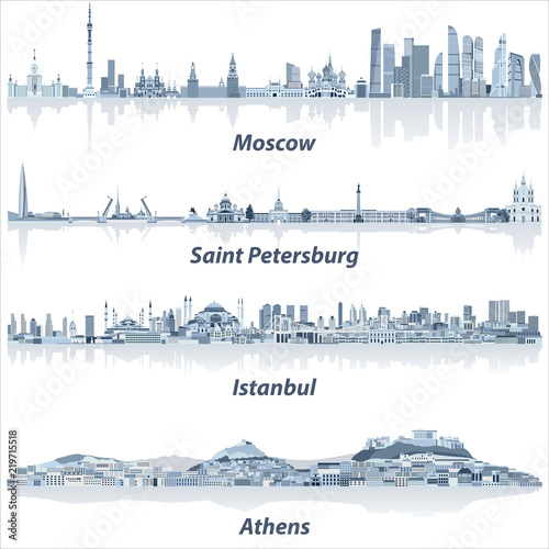 Photo vector cities skylines of Moscow, Saint Petersburg, Istanbul and Athens in soft