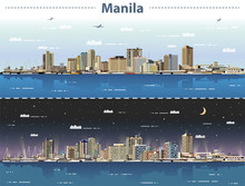 Vector Illustration Of Manila Skyline At Day And Night