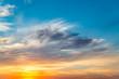 Golden sunset over rural landscape