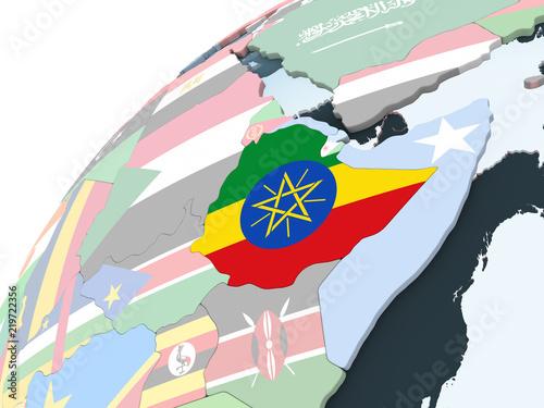 Türaufkleber Künstlich Ethiopia with flag on globe