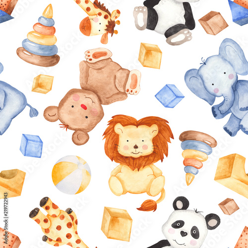 Watercolor pattern with cute animals and toys Wallpaper Mural