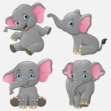 Cartoon Funny Elephants Collec...