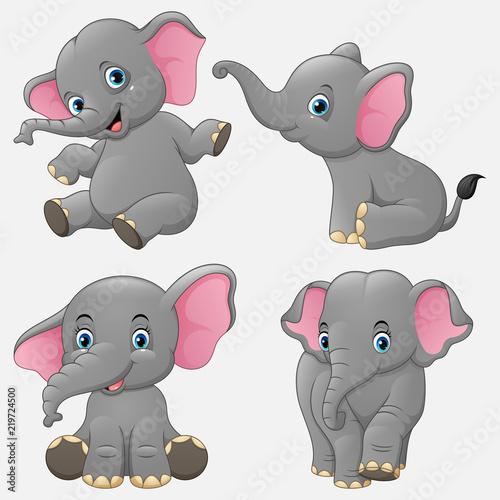 Fototapeta premium Kreskówka zestaw kolekcja zabawny słonie