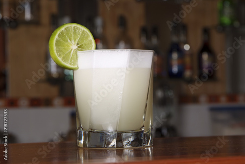 Peruvian cocktail called Pisco Sour made of Pisco Peruvian grape schnaps , lime Canvas Print