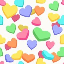 Valentine Candy Hearts Pattern. Valentines Day Hearts Conversation Vector Seamless Background