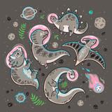 Fototapeta Dinusie - Funny cartoon dinosaur astronauts collection. Vector illustration