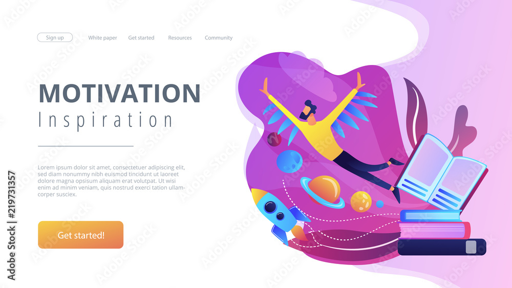 Fototapety, obrazy: Open book, user flying in space among planets. Motivation and inspiration landing page. Creative thinking, imagination and vision, fantasy and ideas concept, violet palette. Vector illustration.